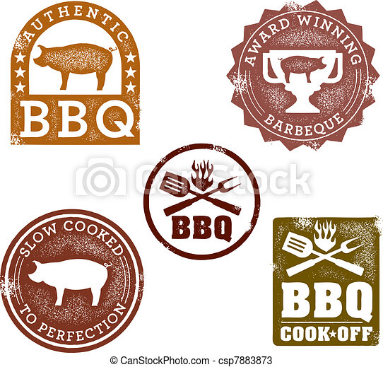 Vintage Style BBQ Stamps - csp7883873