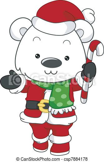 Polar Bear Santa - csp7884178
