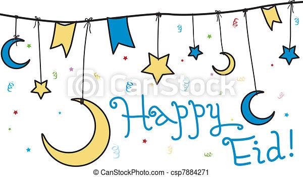 Vector Clip Art of Happy Eid - Illustration Celebrating ...