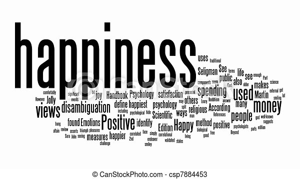 happiness text clouds - csp7884453
