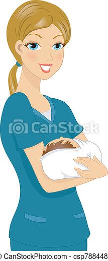 Nurse Holding Baby - csp7884487