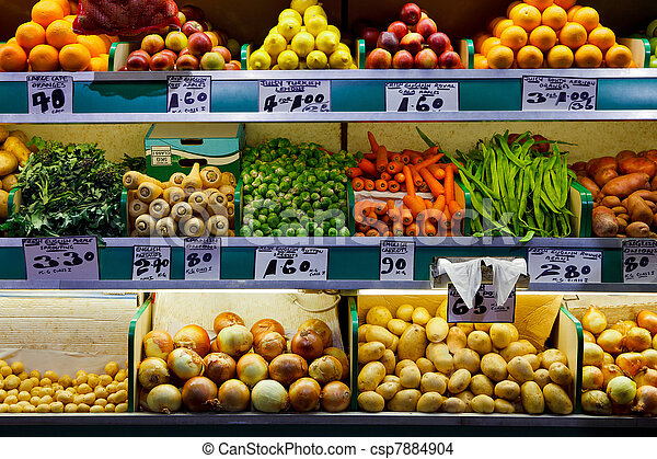 Fresh fruit and vegetables market  - csp7884904