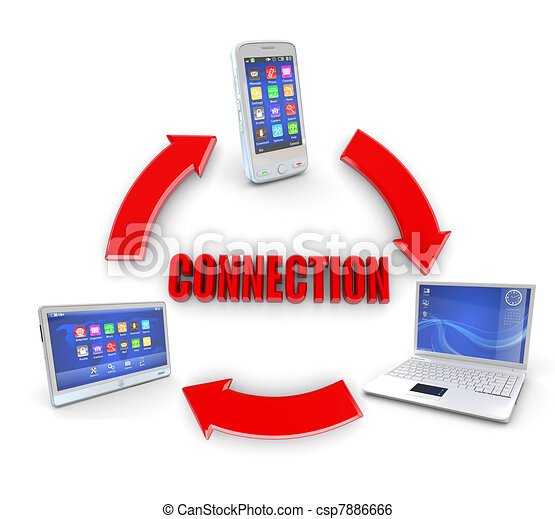 Communication. Laptop, tablet pc and cellphone - csp7886666
