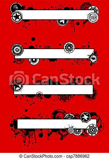 Unique Grunge Splatter Banner Set - csp7886962