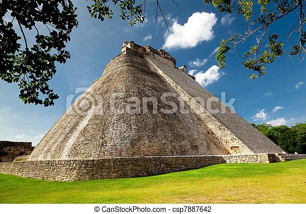 Adivino pyramid in Uxmal, Mexico - csp7887642
