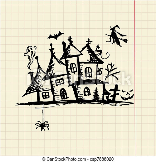 Old mystery house, halloween night - csp7888020