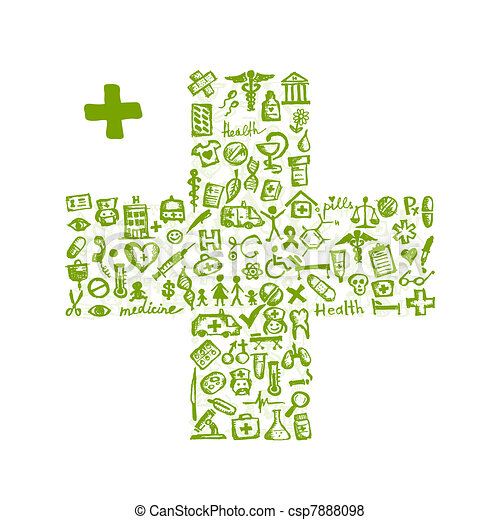 Cross shape with medical icons for your design - csp7888098