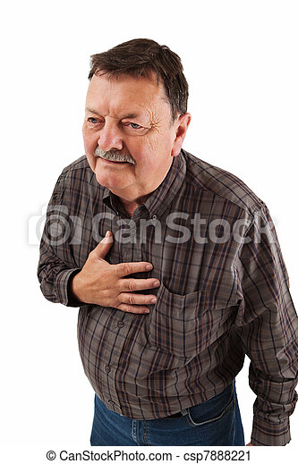 Man in his sixties having chest pain - csp7888221