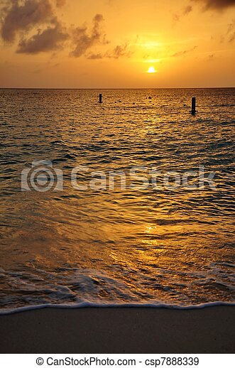 Sunset Seven Mile Beach Cayman - csp7888339