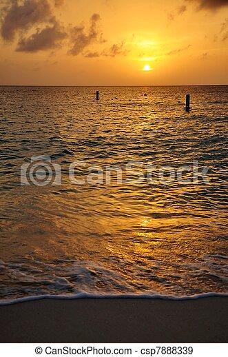 Sunset Seven Mile Beach Cayman - csp7888339