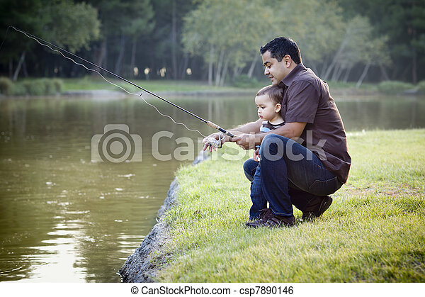 Happy Young Ethnic Father and Son Fishing - csp7890146