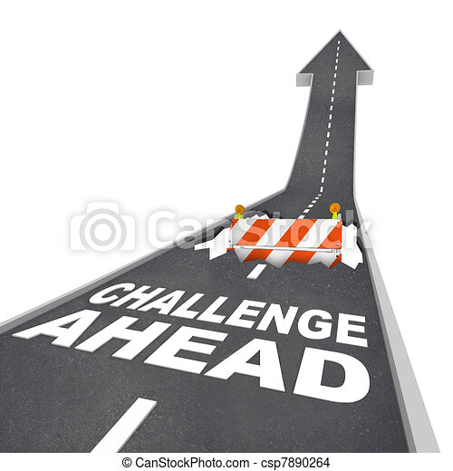 Challenge Ahead Hole in Road Construction Danger Warning - csp7890264