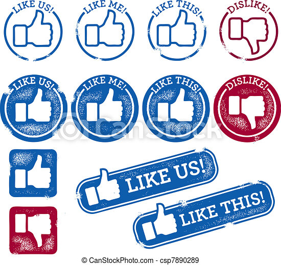 Social Media Like Stamps - csp7890289