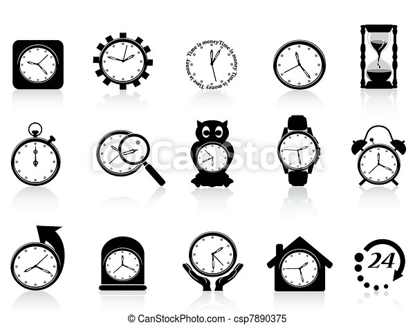 black clock icon set - csp7890375