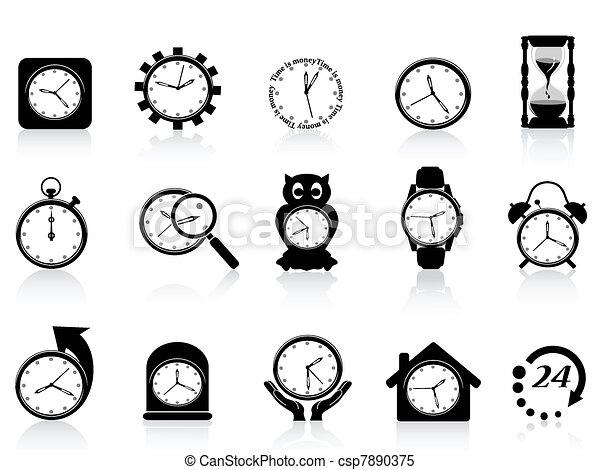 black clock icon set - csp7890375
