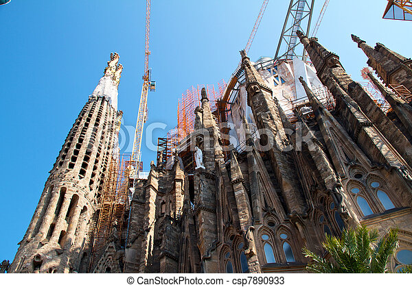 BARCELONA, SPAIN - May 23: La Sagrada Familia - the impressive cathedral designed by Gaudi, which is being build since 19 March 1882 and is not finished yet May 23, 2011 in Barcelona, Spain. - csp7890933