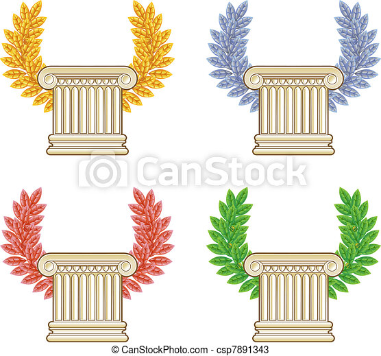Gold, silver, bronze and green laurel wreath with a Greek column. Vector set. - csp7891343