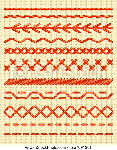 Sewing stitches. Seamless borders. - csp7891361