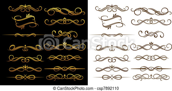 Vintage elements and borders - csp7892110