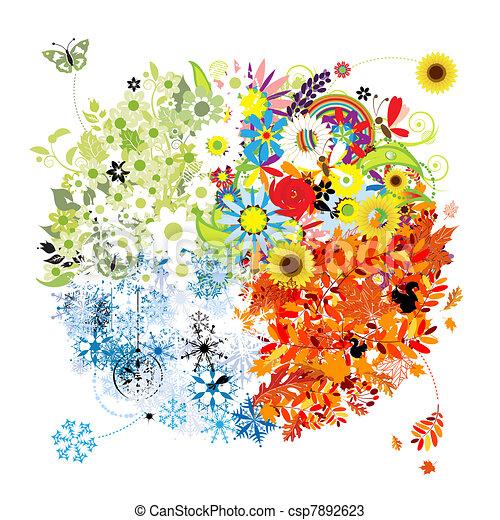 Vectors of Four seasons - spring, summer, autumn, winter ...