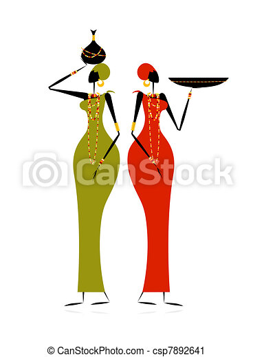 Ethnic women with jugs - csp7892641