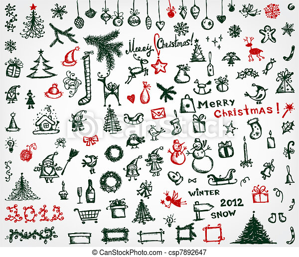 Christmas icons, sketch drawing for your design - csp7892647
