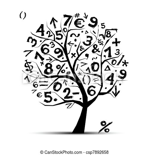 Art tree with math symbols for your design - csp7892658
