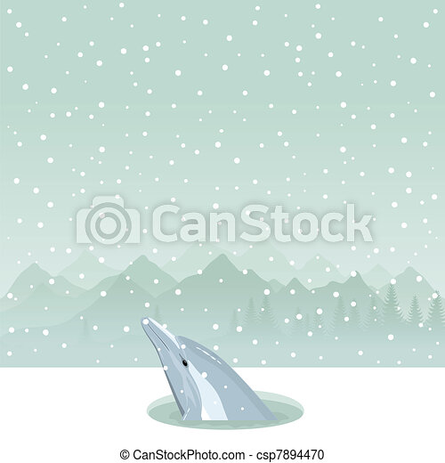Dolphin in an ice-hole - csp7894470