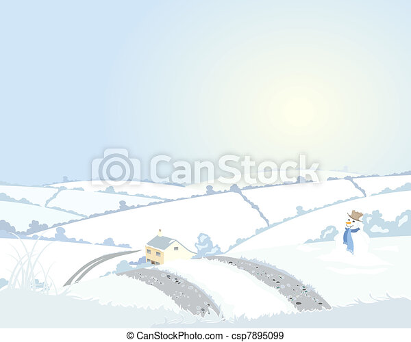 country cottage in winter - csp7895099