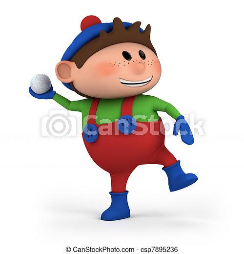 boy throwing snowball - csp7895236