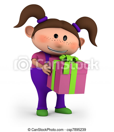 girl with present - csp7895239