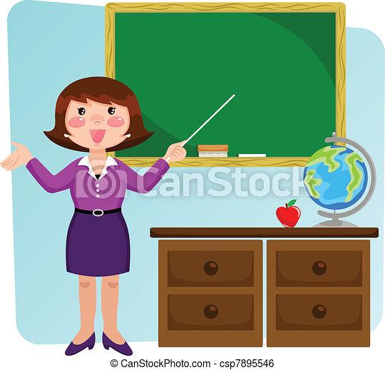 teacher in the classroom - csp7895546