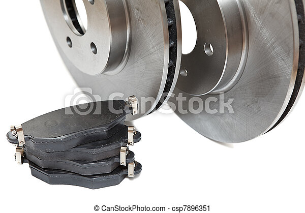 New brake disc isolated on white background - csp7896351