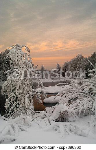 Winter season landscape - csp7896362