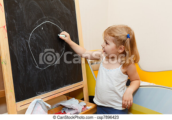 One small Caucasian girl drawing with chalk
