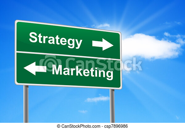 Strategy marketing road sign on background clouds and sunburst. - csp7896986