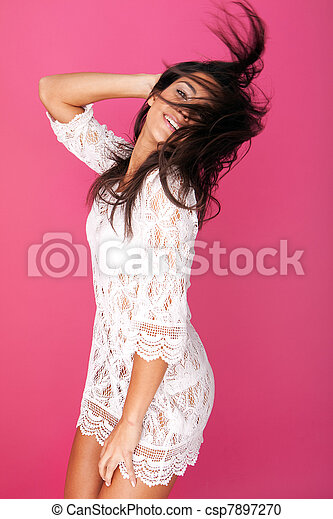 Model In Lacy Garment Flicking Hair - csp7897270