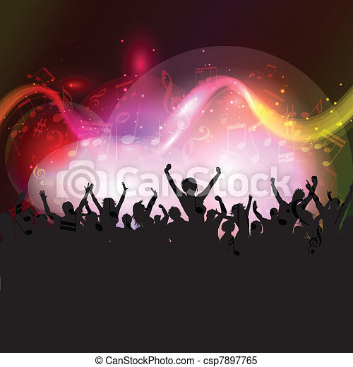 Audience on music notes background - csp7897765