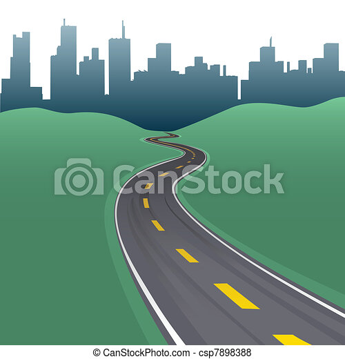 Highway path curve city buildings skyline - csp7898388