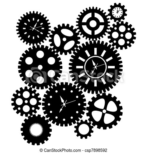 Time Clock Gears Clipart - csp7898592