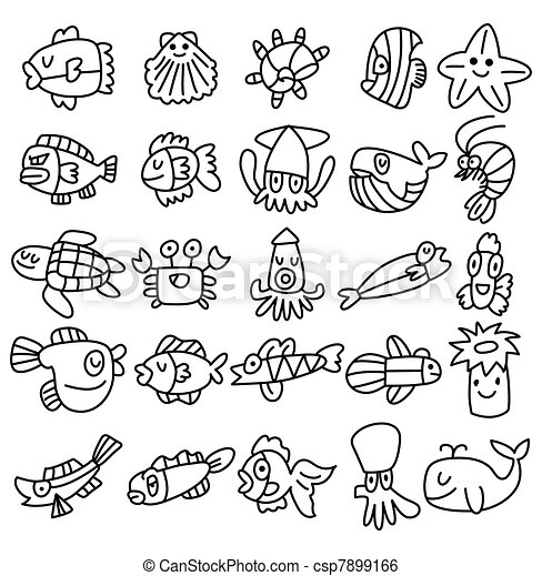 hand draw aquarium fish icons set - csp7899166