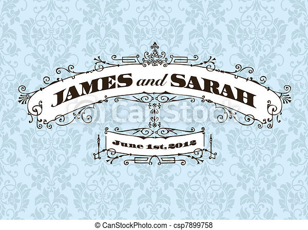 Vector Vector Vintage Wedding Frame and Background