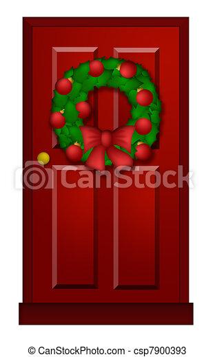 Illustration rouges porte no l couronne illustration - Comment accrocher une couronne de noel a la porte ...