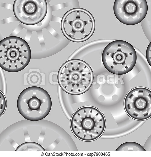 automotive wheel with alloy wheels. Seamless wallpaper. - csp7900465