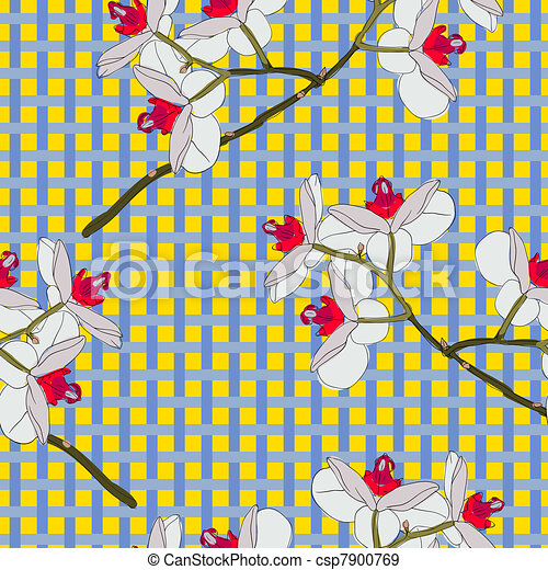 Orchid flowers. Seamless wallpaper. - csp7900769