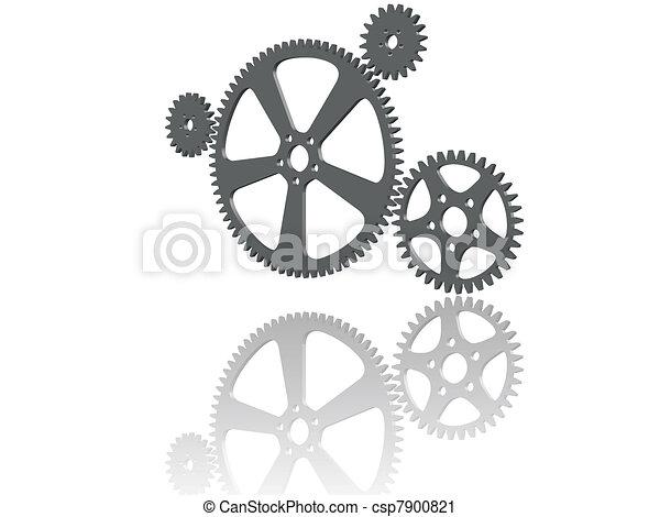Four 3D cogwheels - csp7900821