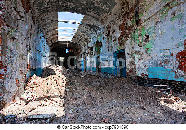 Ruins, view of an old abandoned factory building. - csp7901090