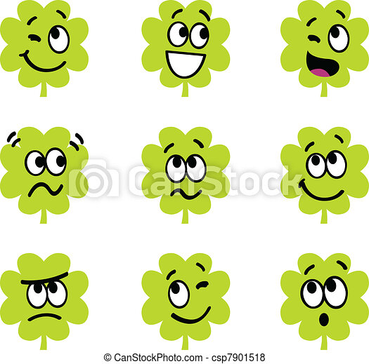 Cartoon four leaf clovers with facial expression isolate on whit - csp7901518