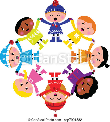 Happy winter cartoon kids in circle isolated on white  - csp7901582