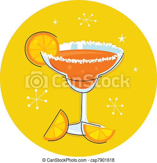 Retro Margarita drink or cocktail with citrus fruit isolated on  - csp7901618